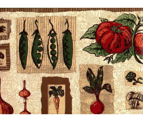 Clearance: Vegetables Wallpaper Border B1236hc