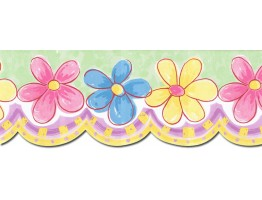 Prepasted Wallpaper Borders - Floral Wall Paper Border HK13000B