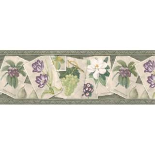 10 1/4 in x 15 ft Prepasted Wallpaper Borders - Floral Wall Paper Border b1339en