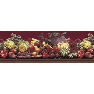 9 1/4 in x 15 ft Prepasted Wallpaper Borders - Fruits Wall Paper Border B144211