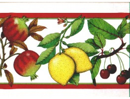 6 7/8 in x 15 ft Prepasted Wallpaper Borders - Fruits Wall Paper Border b167217