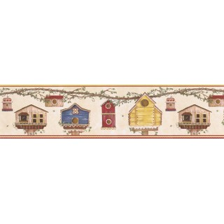 6 7/8 in x 15 ft Prepasted Wallpaper Borders - Birds House Wall Paper Border LBO201B