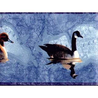 6 3/4 in x 15 ft Prepasted Wallpaper Borders - Ducks Wall Paper Border DU2023B