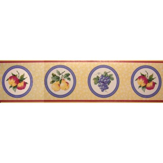 6 3/4 in x 15 ft Prepasted Wallpaper Borders - Fruits Wall Paper Border MB2101B
