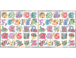Prepasted Wallpaper Borders - Alphabets Wall Paper Border B2143TY