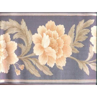9 in x 15 ft Prepasted Wallpaper Borders - Floral Wall Paper Border b21875