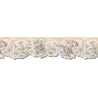 6 1/4 in x 15 ft Prepasted Wallpaper Borders - Floral Wall Paper Border FF22011DB