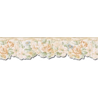 6 1/4 in x 15 ft Prepasted Wallpaper Borders - Floral Wall Paper Border FF22012DB