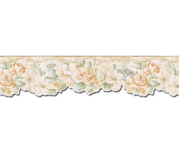 Prepasted Wallpaper Borders - Floral Wall Paper Border FF22012DB