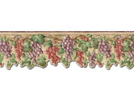 Prepasted Wallpaper Borders - Grape Fruits Wall Paper Border FF22021DB