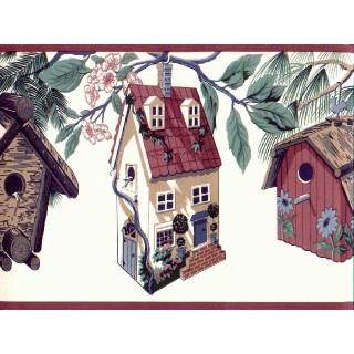 6 7/8 in x 15 ft Prepasted Wallpaper Borders - Birds House Wall Paper Border B2232TL