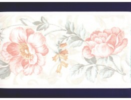 6 3/4 in x 15 ft Prepasted Wallpaper Borders - Floral Wall Paper Border b22931