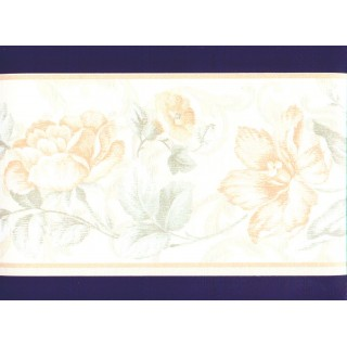 6 3/4 in x 15 ft Prepasted Wallpaper Borders - Floral Wall Paper Border b22997