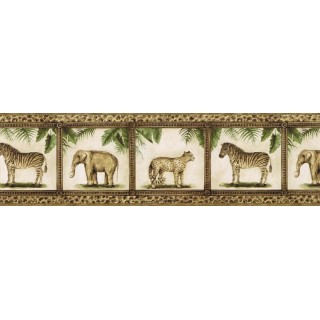 8 1/2 in x 15 ft Prepasted Wallpaper Borders - Animals Wall Paper Border TV23029B
