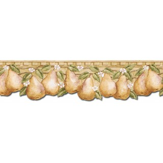 5 3/4 in x 15 ft Prepasted Wallpaper Borders - Pear Fruits Wall Paper Border PT24002B