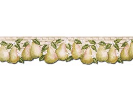 5 3/4 in x 15 ft Prepasted Wallpaper Borders - Pear Fruits Wall Paper Border PT24005B