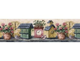9 in x 15 ft Prepasted Wallpaper Borders - Birds House Wall Paper Border PT24007B