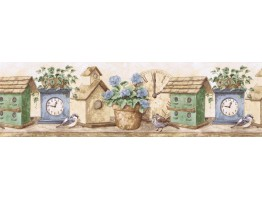Prepasted Wallpaper Borders - Birds House Wall Paper Border B24008