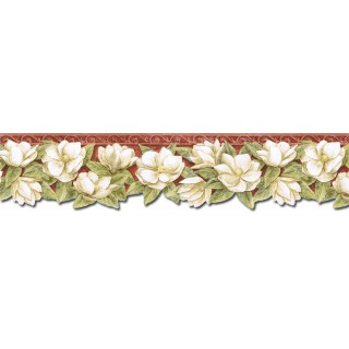 6 1/8 in x 15 ft Prepasted Wallpaper Borders - Floral Wall Paper Border PT24022B