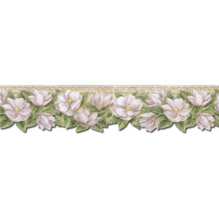 6 1/8 in x 15 ft Prepasted Wallpaper Borders - Floral Wall Paper Border PT24023B