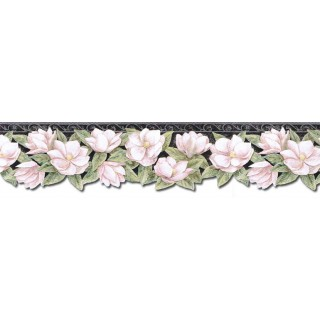6 1/8 in x 15 ft Prepasted Wallpaper Borders - Floral Wall Paper Border PT24024B