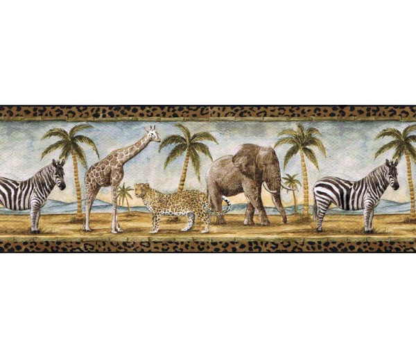 Jungle Animals Wallpaper Border B24027