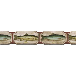 4 7/8 in x 15 ft Prepasted Wallpaper Borders - Fish Wall Paper Border B25006
