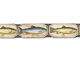 Prepasted Wallpaper Borders - Fish Wall Paper Border B25008