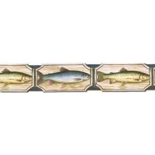 4 7/8 in x 15 ft Prepasted Wallpaper Borders - Fish Wall Paper Border B25008