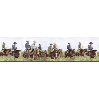 6 7/8 in x 15 ft Prepasted Wallpaper Borders - Horses Wall Paper Border B25016