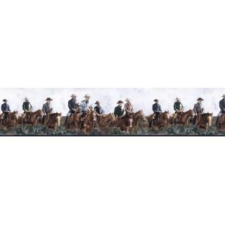 6 7/8 in x 15 ft Prepasted Wallpaper Borders - Horses Wall Paper Border B25017