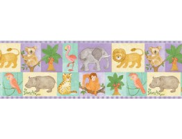 9 3/4 in x 15 ft Prepasted Wallpaper Borders - Animals Wall Paper Border B27903