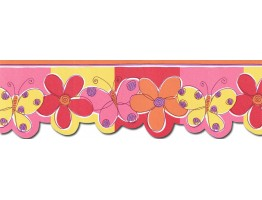 Prepasted Wallpaper Borders - Butterfly Flower Wall Paper Border JFM2802DB