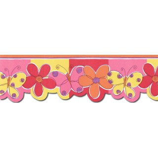 8 3/8 in x 15 ft Prepasted Wallpaper Borders - Butterfly Flower Wall Paper Border JFM2802DB