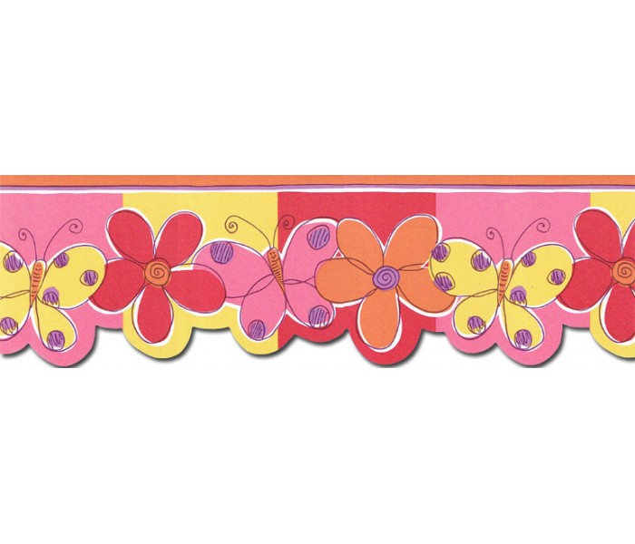 Clearance: Butterfly Flower Wallpaper Border JFM2802DB