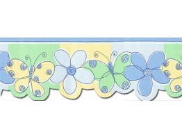 8 3/8 in x 15 ft Prepasted Wallpaper Borders - Butterfly Flower Wall Paper Border JFM2803DB