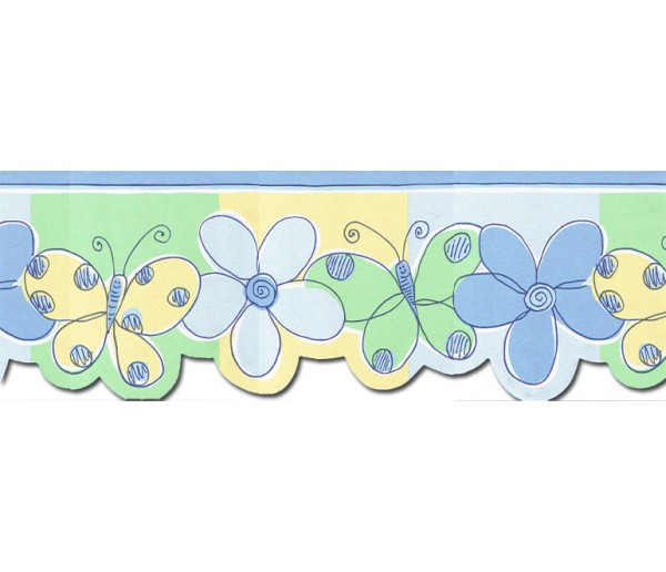 Prepasted Wallpaper Borders - Butterfly Flower Wall Paper Border JFM2803DB