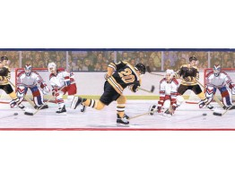 Prepasted Wallpaper Borders - Hockey Wall Paper Border JFM2828B