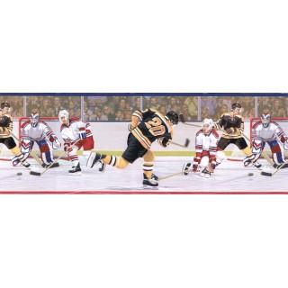 9 in x 15 ft Prepasted Wallpaper Borders - Hockey Wall Paper Border JFM2828B