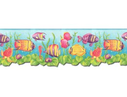 8 3/4 in x 15 ft Prepasted Wallpaper Borders - Sea World Wall Paper Border JFM2832DB