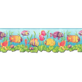8 3/4 in x 15 ft Prepasted Wallpaper Borders - Sea World Wall Paper Border JFM2832DB