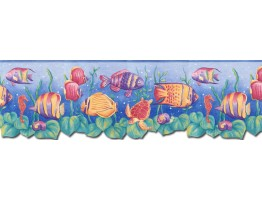 Prepasted Wallpaper Borders - Sea World Wall Paper Border JFM2833DB