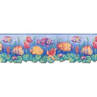 8 3/4 in x 15 ft Prepasted Wallpaper Borders - Sea World Wall Paper Border JFM2833DB
