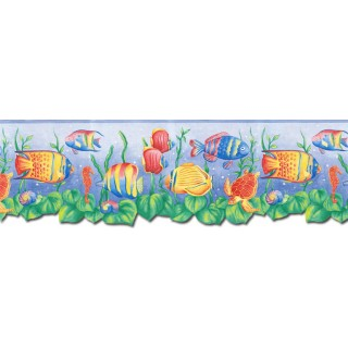 8 3/4 in x 15 ft Prepasted Wallpaper Borders - Sea World Wall Paper Border JFM2834DB