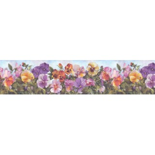 6 5/8 in x 15 ft Prepasted Wallpaper Borders - Floral Wall Paper Border B28973