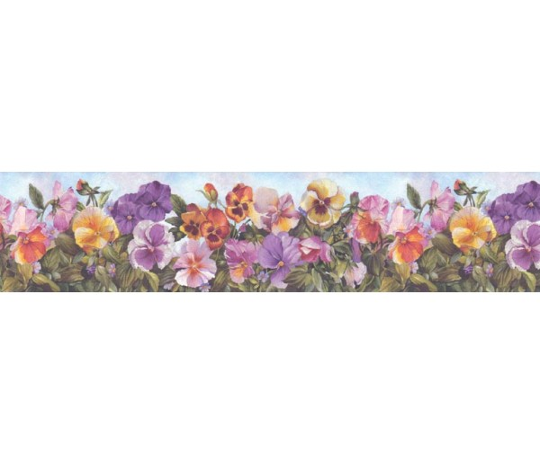 Prepasted Wallpaper Borders - Floral Wall Paper Border B28973