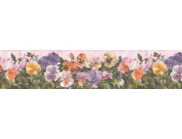 6 1/2 in x 15 ft Prepasted Wallpaper Borders - Floral Wall Paper Border B28976