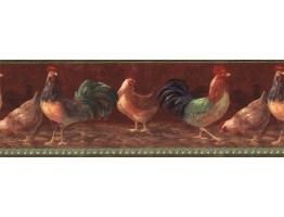 Prepasted Wallpaper Borders - Roosters Wall Paper Border TH29000B