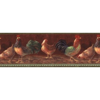 9 in x 15 ft Prepasted Wallpaper Borders - Roosters Wall Paper Border TH29000B