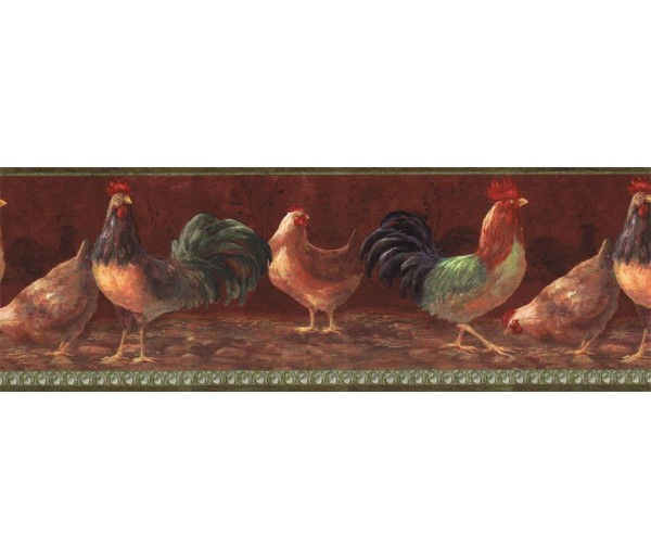 Roosters Roosters Wallpaper Border TH29000B  Wallcrown LTD.
